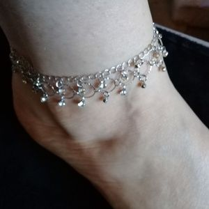Jewelry - Silver and crystal ankle bracelet